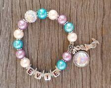 MERMAID Personalised Kids Bead Bracelet Mermaid Fin Charms Mystical Jewelry
