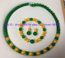 Natural 7-8mm Gold Pearl & 8mm Green Jade  Beads Necklace Bracelet Earrings Set