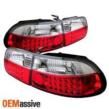 Fits 92-95 Civic 3Dr Hatchback Eg6 JDM Red Clear LED Tail Lights W/Trunk Piece