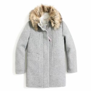 CREWCUTS J CREW girls sz 16 Gray wool coat jacket faux fur collar