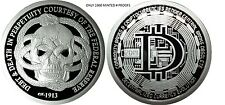 1 OZ SILVER COIN PROOF DECENTRALIZED BITCOIN FEDERAL RESERVE DEBT AND DEATH-SBSS
