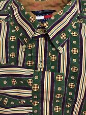 Tommy Hilfiger Mens Vintage Purple Green Plaid Long Sleeve Button Shirt / MEDIUM