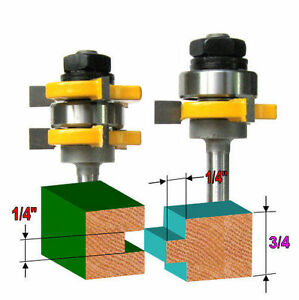 """2 pc 1/4"""" Sh Cutting Depth 1/4"""" Tongue & Groove Joint Assembly Router Bit Set S"""