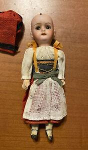 "Antique William Goebel German Girl Doll 6"" Porcelain Head Composite Body Clothes"