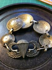 WW2 Airborne Paratrooper Durocharm NY Sterling Pin Original US Military Trench A
