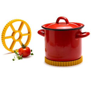 Rotelle Hot Pot Trivet Pasta Yellow Silicone Kitchen Gadget Monkey Business New