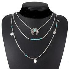 3 Layers Retro Necklace Silver Turquoise Hippie Bohemian Ethnic Boho Jewelry