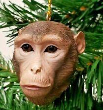 "Slavic Treasures Rhesus Monkey Head Christmas Resin Ornament 2 1/2"""