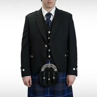 "New Men's Argyle Kilt Jacket With Waistcoat/Vest - Sizes 36""- 54"""