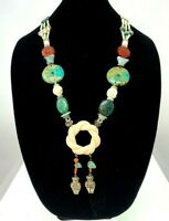 Antique Vintage Chinese Jade, Carnelian & Chrysocolla Brass Necklace
