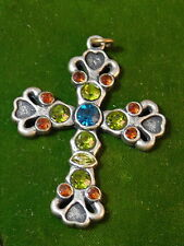 Vintage Pewter Silver Cross Gem color  Rhinestone Ornate Pendant 3d 32