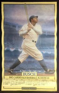 Babe Ruth at Bat Portrait 1987 St. Louis Cardinals Baseball Schedule Busch Beer
