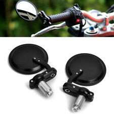 """Black Universal Motorcycle 3"""" Round 7/8"""" Handle Bar End Rearview Side Mirrors US"""