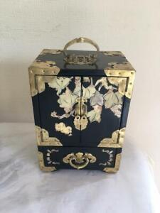 Vintage Chinese Black Lacquered & Mother of Pearl Ornate Jewellery Box
