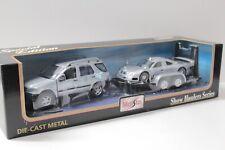 1:24 Maisto SET Mercedes Benz ML + Mercedes CLK GTR Street + Trailer silver