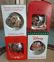 Vintage Disney Lot Of 4 Christmas Ball Glass Ornaments In Box ADORABLE