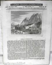 ANTICA STAMPA INCISIONE 1844 Convento di Santa Caterina sul Sinai Ferrovia Treni
