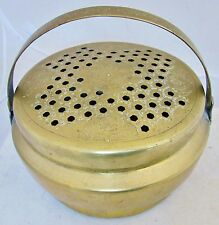 """9.5"""" Antique Chinese Brass Bed Warmer or Foot Warmer with Handle"""