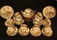 MARKED Kozan JAPANESE MEIJI SATSUMA TEA SET CUP&SAUCER / CREAMER / SUGAR / PLATE