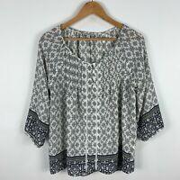 Target Womens Blouse Top 10 White Grey Textiles 3/4 Sleeve Round Neck