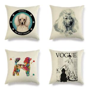 Pet Dog whit poodle Linen/cotton pillow cover sofa pillow case