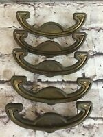 Vintage Antique Brass Drawer Cabinet Pull Handles Drop Swing Art Deco Set of 5
