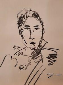 "JOSE TRUJILLO Original Charcoal on Paper Sketch Drawing 18X24"" Portrait A004"