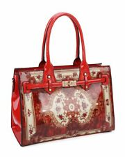 LeahWard Women's Faux Leather Floral Detail Large Tote Shoulder Handbags Holiday