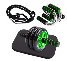 Wheel Roller Kit Abs Abdominal Core Exercise Professional w Resistance Band New