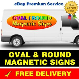 2 x OVAL / ROUND MAGNETIC VEHICLE CAR VAN LORRY SIGNS PRINTED FULL COLOUR