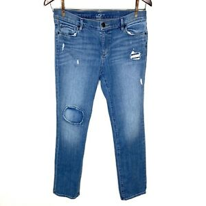 Ann Taylor LOFT Modern Straight Distressed Patched Jeans Woman's Size 10 / 30