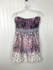 New Body Central Strapless Floral Dress Womens M Floral Watercolor Pink Gray