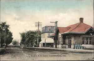 Lawrenceburg IN B&O RR Train Depot Station c1910 Postcard