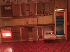 Cool Lundby retro orange 70s dolls house kitchen, complete with bulb to light up