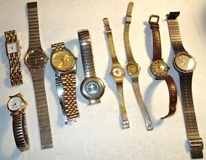 LOT of NINE (9) ASSORTED VINTAGE WRISTWATCHES~AS-IS~LOT #19! NR!