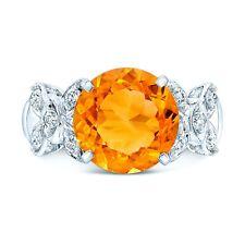 Naranja Redondo Citrina Diamante Anillo Hoja Mujer 14k Oro Blanco Cóctel Cuentas