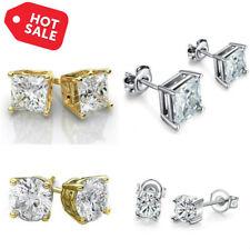 Sterling Silver Stud Earrings Cubic Zirconia Round Men Women 4PC CZ Earrings Set