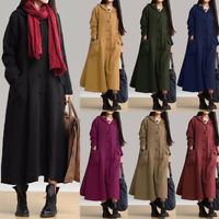 UK 8-24 ZANZEA Women Hooded Casual Loose Long Maxi Dress Coat Kaftan Plus Size