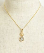 """Women'S Fashion Gold Plate Necklace With Crown And Rhinestone Accents 18"""" Nwt"""