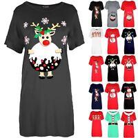 New Womens Ladies  Reindeer Pudding Baggy Oversized Christmas T Shirt Mini Dress