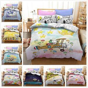 Cute Snoopy0 Peanuts Bedding Set 2/3Pcs Pillow Case Duvet Cover All Size Bed Set