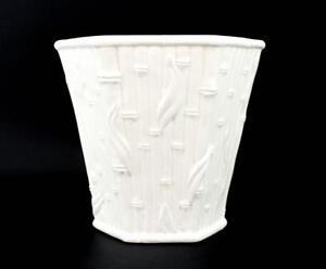 VINTAGE LARGE GLAZED CERAMIC WHITE BAMBOO PLANTER HOLLYWOOD REGENCY BEACH RARE