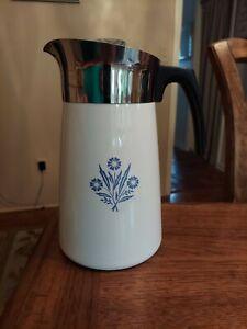 Vintage Corning Ware Blue Cornflower Stove Top 9 Cup Percolator Coffee Pot - NEW