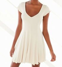 KIMCHI BLUE URBAN OUTFITTERS IVORY SHORT SLEEVE RIBBED KNIT LINED DRESS Sz L