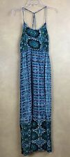 Angie Maxi Dress Multi Color Tribal Print Spaghetti Strap Summer Beach Size S