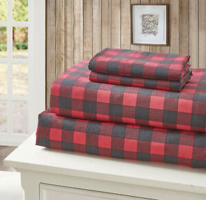 RED BUFFALO PLAID 4pc King SHEETS SET: CABIN BLACK CHECK COUNTRY LODGE