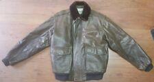 LL Bean G-1 Brown Leather Shearling Wool Mouton Flight Jacket Mens Large Regular