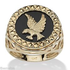 MENS 10K GOLD EAGLE ONYX DIAMOND ACCENT RING SIZE 9 10 11 12 13 FREE SHIPPING