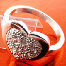 RING REAL 925 STERLING SILVER S/F DIAMOND SIMULATED HEART DESIGN US 7 FS3B024
