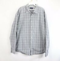Gap Mens 2XL XXL Long Sleeve Button Front Casual Dress Shirt Plaid Gray Cotton